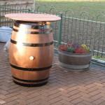 220 liter statafel gebeitst zwarte banden